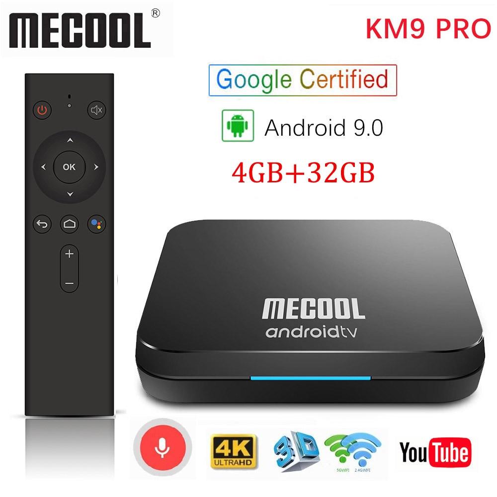 MECOOL KM9 Pro Google certifié Androidtv Android 9.0 TV Box 4GB RAM 32GB Amlogic S905X2 4K double Wifi décodeur TX6 T9 KM3 ATV