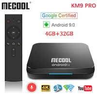 MECOOL KM9 Pro Google certifié Androidtv Android 9.0 TV Box 4GB 32GB Amlogic S905X2 4K double Wifi Smart TV box TX6 T9 KM3 ATV