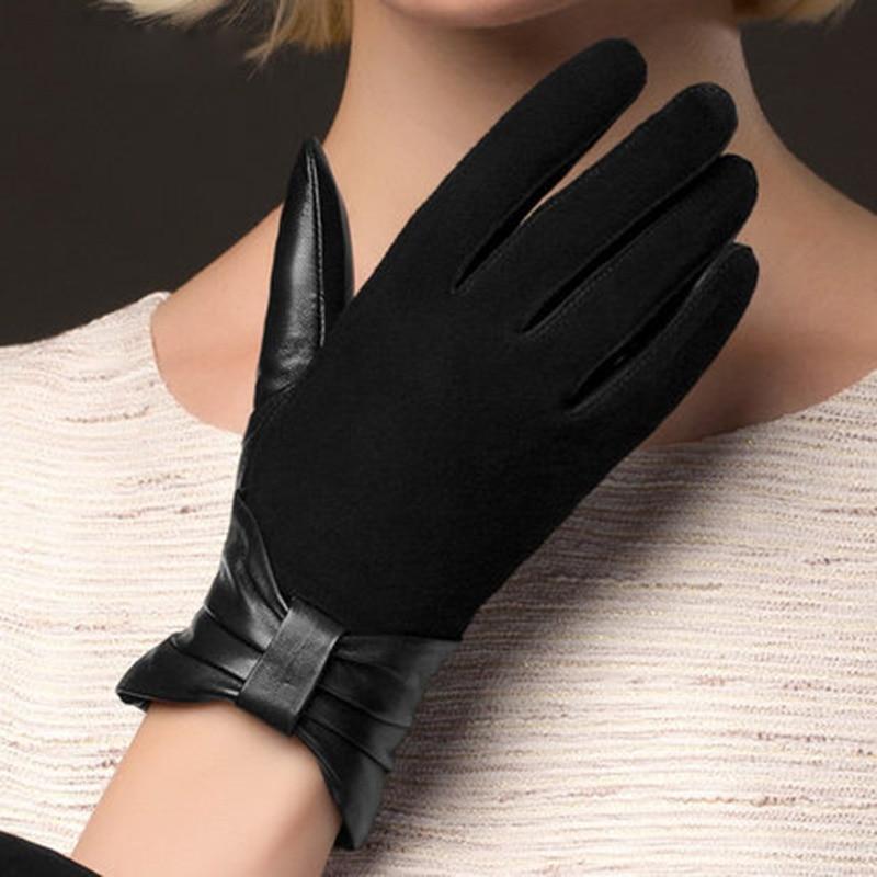 Image Fashion Black Genuine Leather Gloves Women Suede leather Thicken Plus Velvet Warm Winter Sheepskin Glove NW675 5