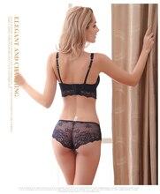 Fashion sexy bra set women's push up lace underwear panties summer thin breathable bra set