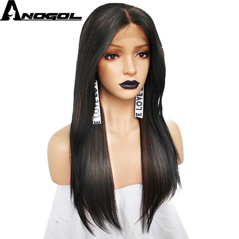 Anogol Futura fibre noir mélange brun naturel plein cheveux perruques longue droite synthétique dentelle avant perruque pour les femmes partie profonde