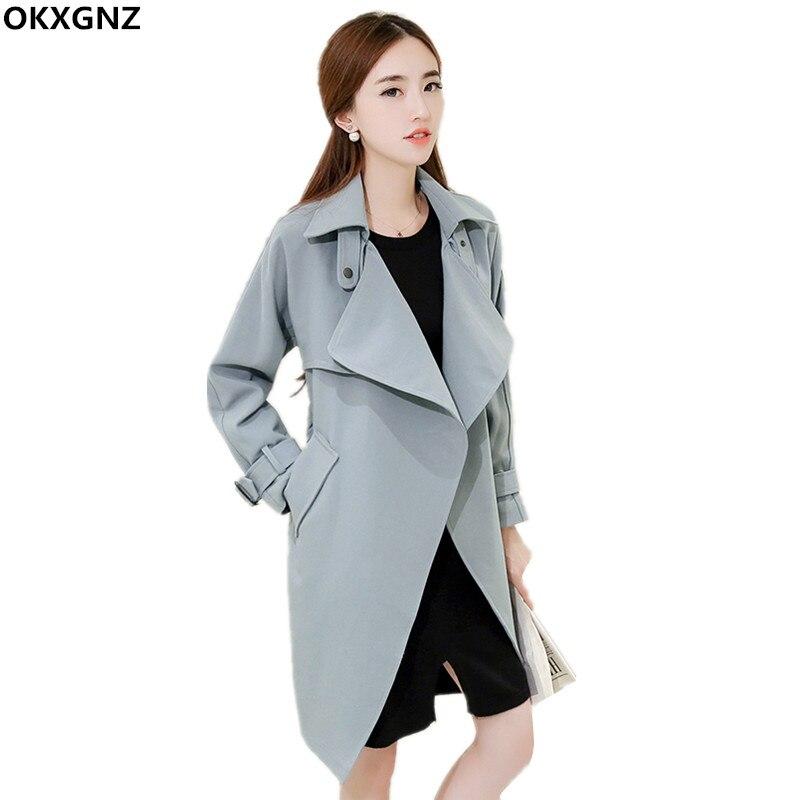 Korean Style Office   Trench   Coat Women 2017 New Fashion Costume Belt Windbreaker Women Basic Coats Plus Size Casual Tops AH237