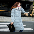 2016 Новая Зимняя Женская Куртка Вниз Куртка Женщин Большой Меховой Пальто Удлиняется Женщины Тонкий куртка A006
