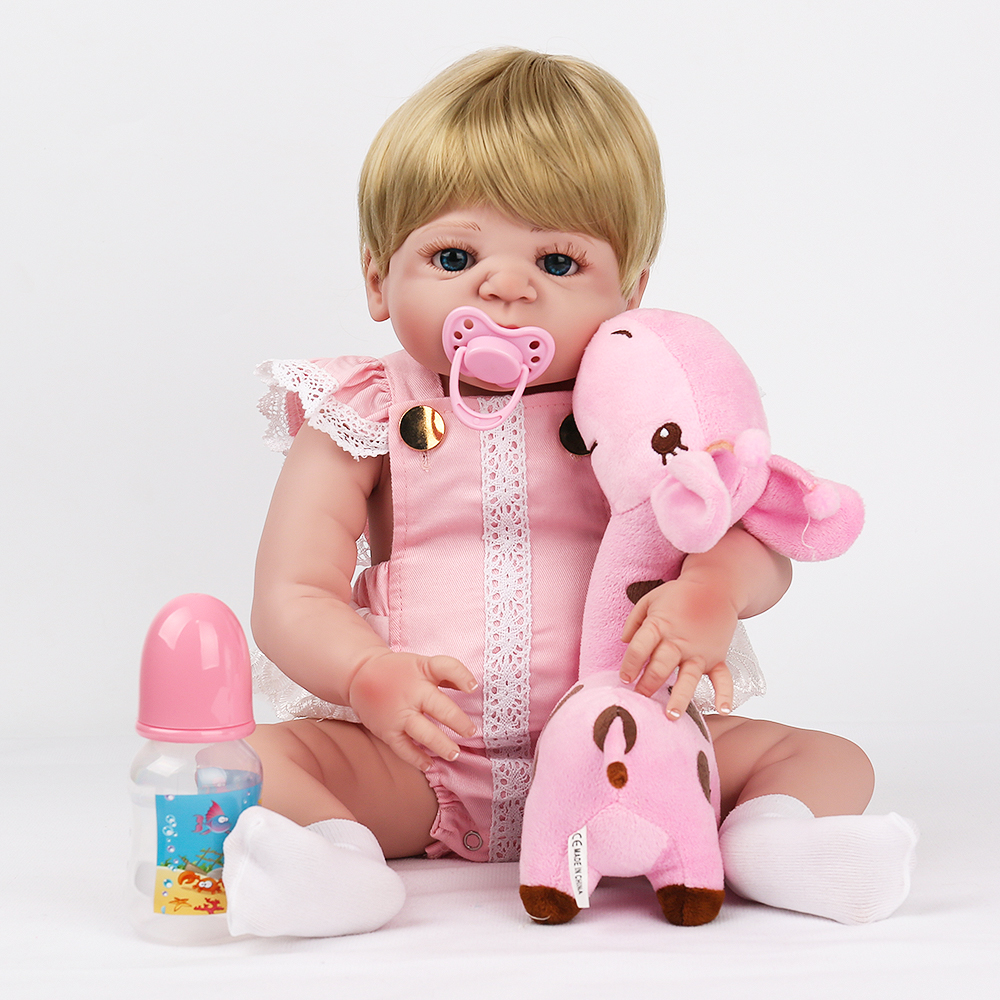Doll Reborn Baby Full Vinyl Lovely Cute Bebe Boneca Blonde hair wigs Pink Romper fawn toy Christmas gift 22 inch Fsshion play kaydora american girl doll reborn baby 18 inch full vinyl long blonde curly hair red dress fashion cute lovely doll reborn bebe