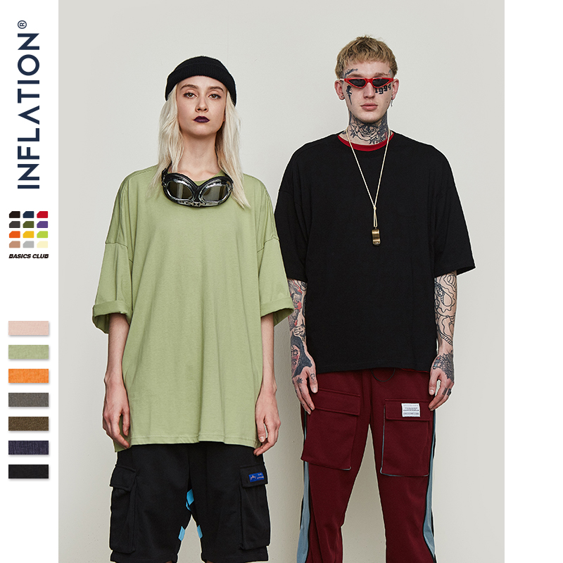 0057S17 Hop Cotton INFLATION Elbow Length Summer Fashion Oversized Crew Hip New Neck Style Solid Unisex T-Shirts Casual 4