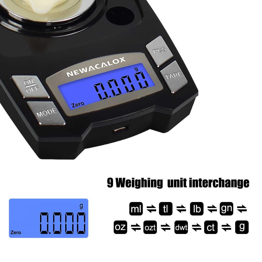NEWACALOX 50 جرام/100 جرام x 0.001 جرام USB شحن مجوهرات مقياس LCD الرقمية جيب الدقة ميزان إلكتروني مختبر الطبية ميزان