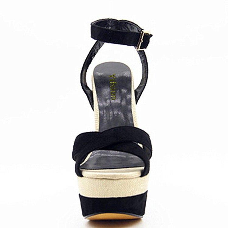 Sandalias Ee Más Nuevas Tamaño 5 Mujeres Toe Black Cuñas 4 Negro Zapatos D0120 Yifsion Altos 10 Cm Tacones Sexy uu 15 Gladiator qtBOqCw