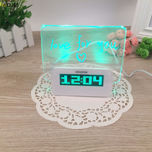 Digital alarm clock Blue green LED Fluorescent electronic desk clock Message Board USB 4 Port Hub Weather station alarm clock