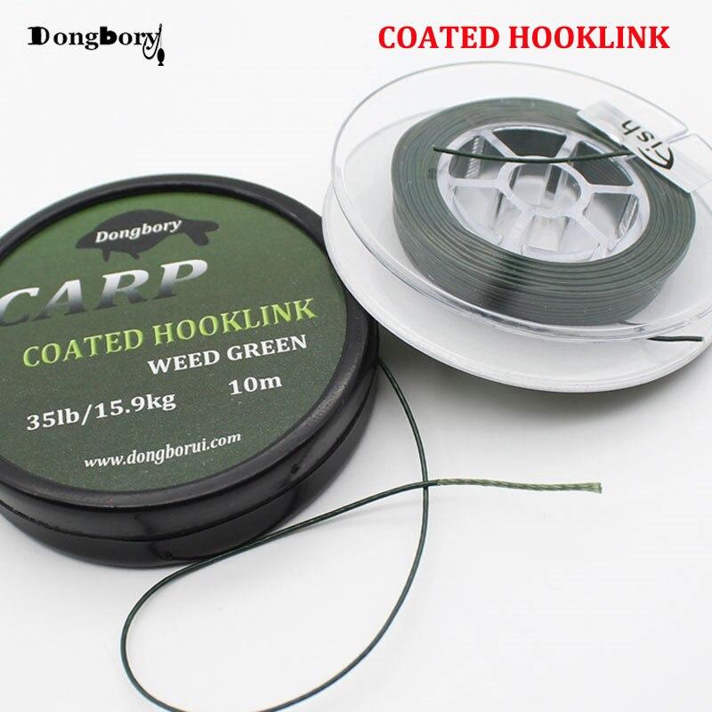 10 m carpa pesca línea recubierto gancho enlace 25 35 LB trenza HookLink Skinlink Semi Stiff pelo aparejo Bream Tench grueso aparejo de pesca
