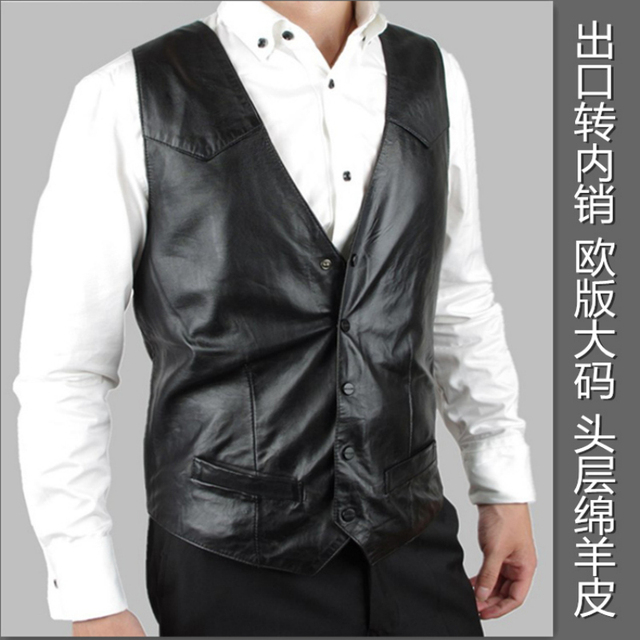 Sheep skin vest men's suede leather vest men's clothing leather vest male european size big vest