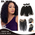 360 Lace Frontal with Bundle with Baby Hair Virgin Human Peruvian Deep Wave Curly 360 Frontal With Bundle Pre Plucked 360
