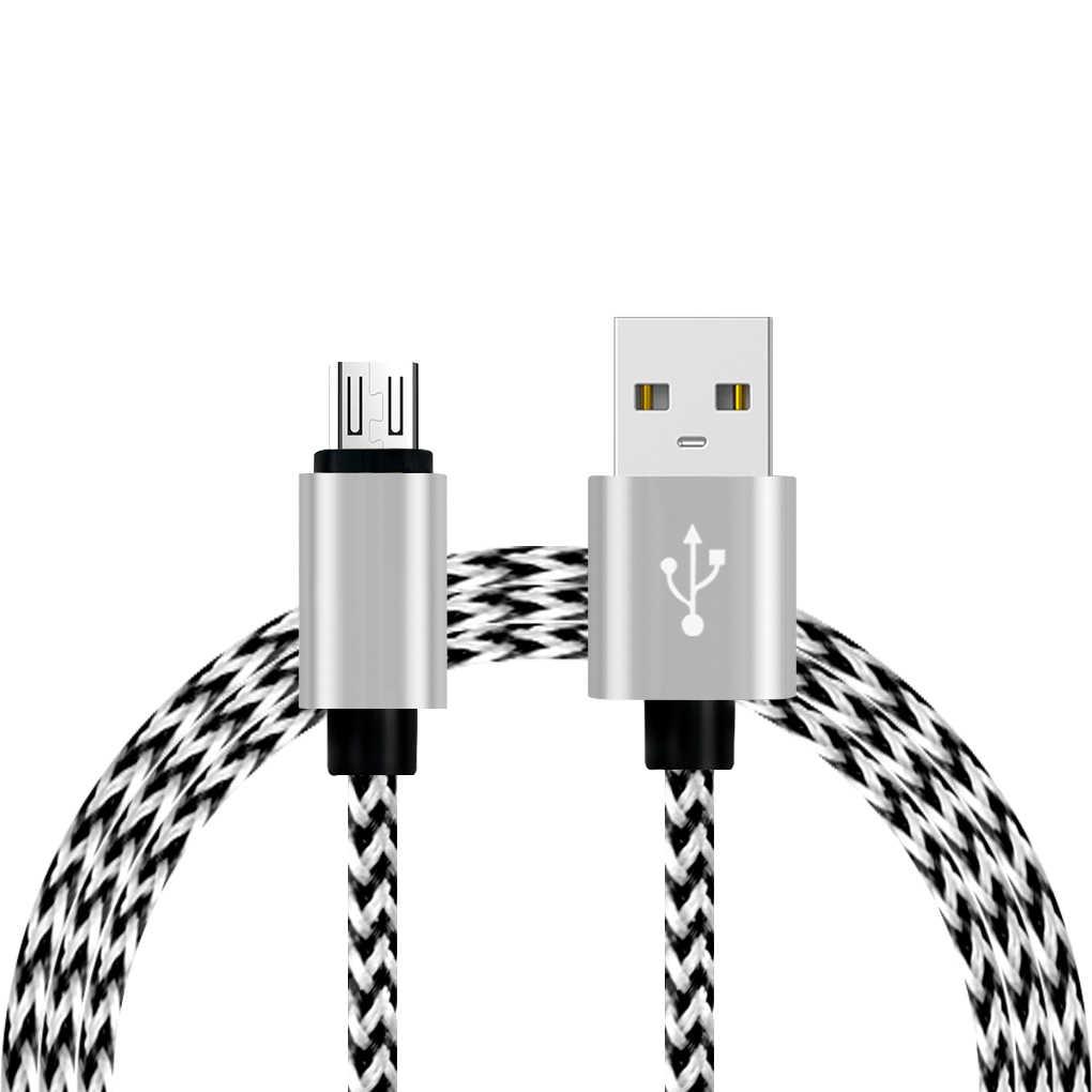 المصغّر USB كابل الشاحن 5V 2A USB بيانات كابل للأندرويد الذكي النايلون جديلة كابل لسامسونج