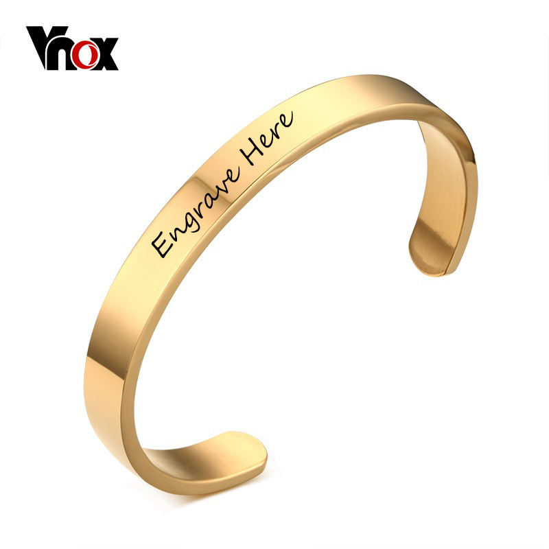 Vnox Bracelet Customized Jewelry Free Engraving Stainless Steel 6mm 8mm Men Jewelry Cuff Gold Color Open Bangle Bracelet Women