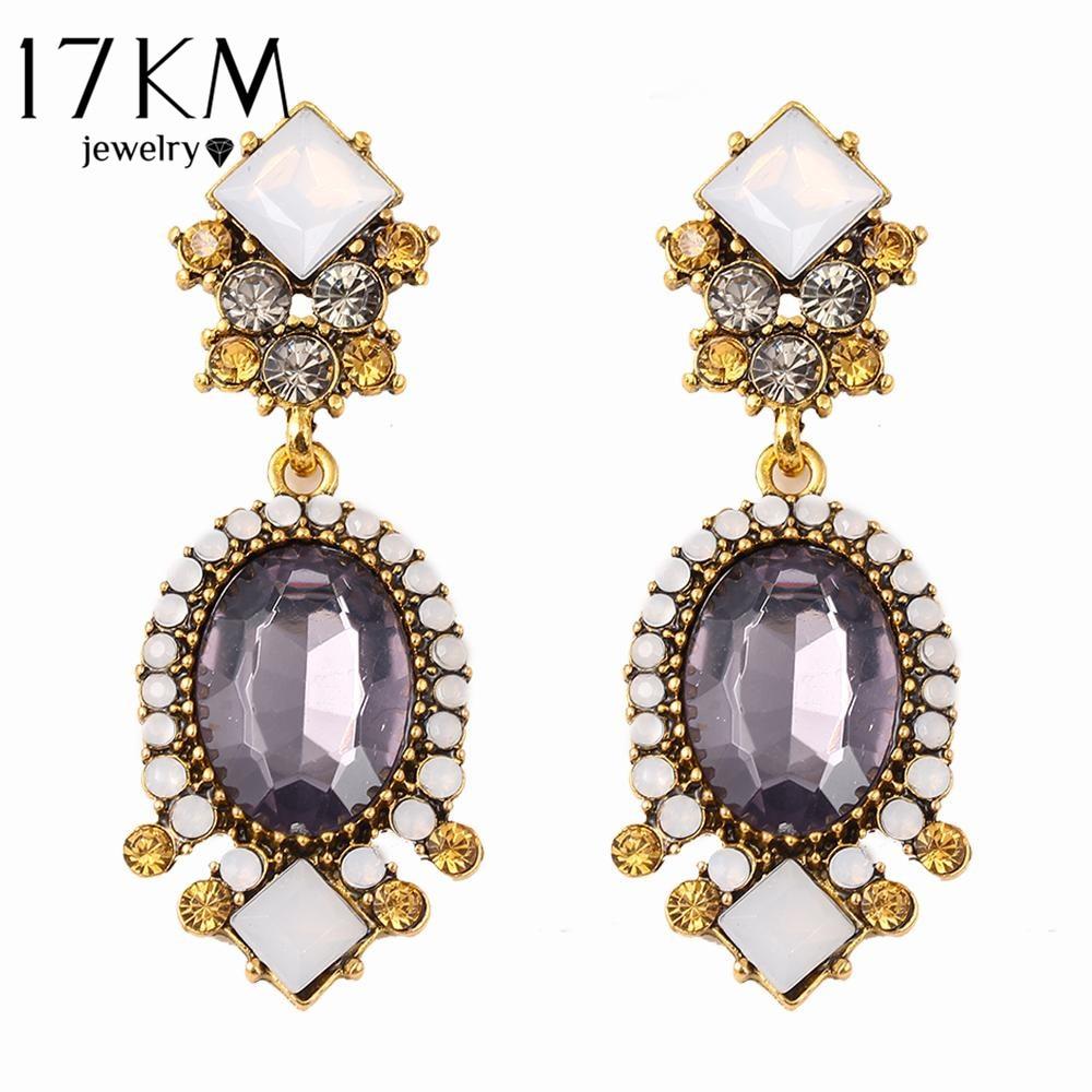 Buy 17km Fashion Geometric Earrings Vintage Gothic Designer Wedding Crystal