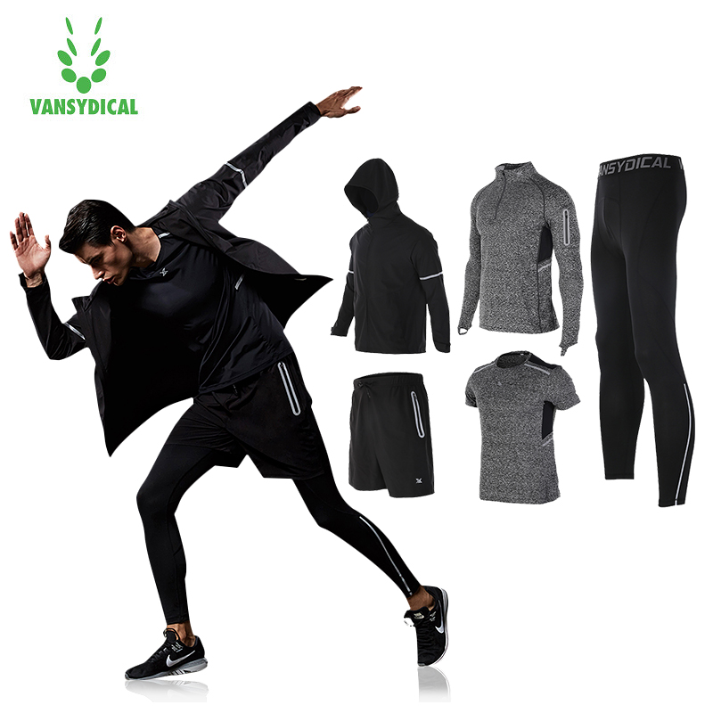 Vansydical Mens Trainning Running Suits Winter Tracksuit Warm 5pcs Sport Suits Man Gym Clothing Sportswear Fitness Jacket Men