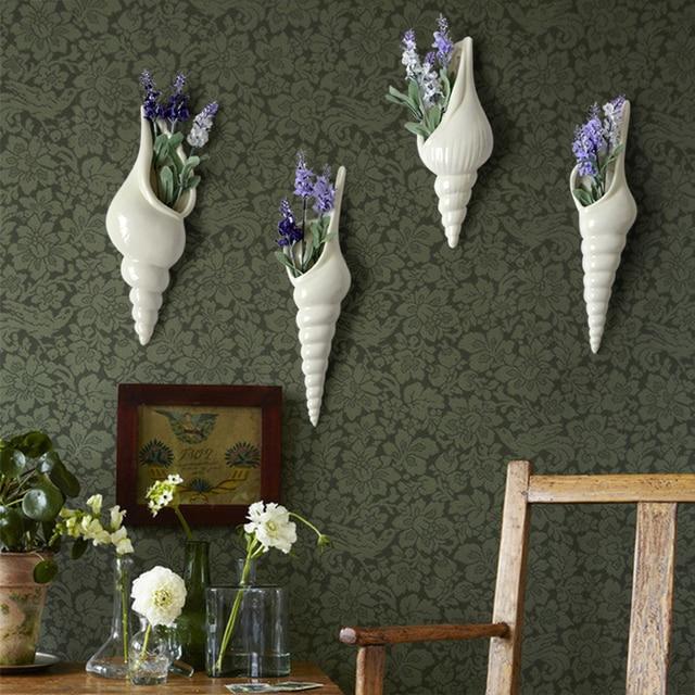 Раковины стене висели декоративные вазы чистый белый керамический ремесло цветок подвеска Средиземноморский стиль свадебный фон декора