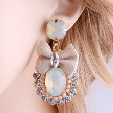 Royalhouse Drop Rhinestone Tie Big Earring Dangle Zinc alloy Large Long Brinco Printing Ear Accessories Oorbellen sterling silve(China)