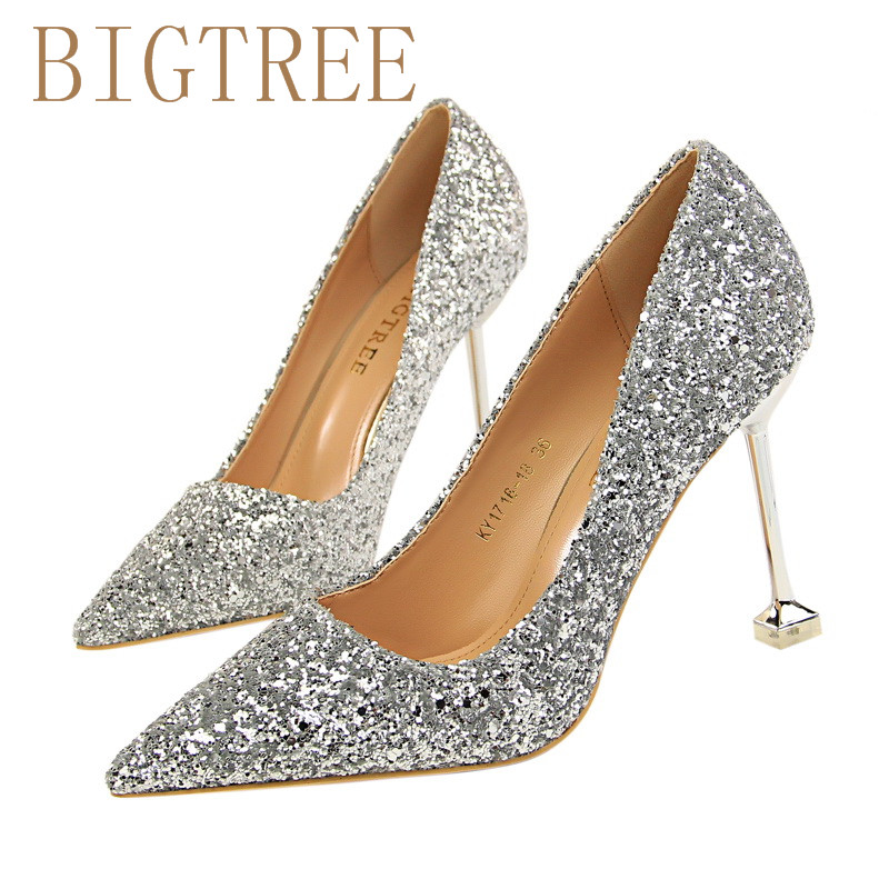 2017 New Rhinestone High Heels Shoes Sequins Women Pumps Pointed toe Woman Crystal Wedding Shoes 9.5cm heel Silver red champagne luxury brand crystal patent leather sandals women high heels thick heel women shoes with heels wedding shoes ladies silver pumps