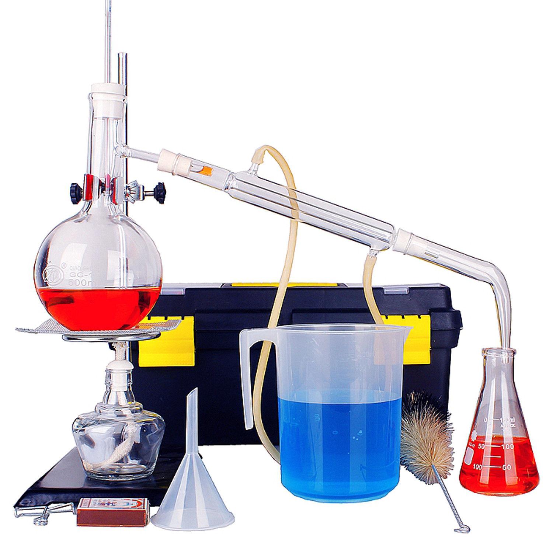 15pcs New 500ml Lab Distillation Apparatus Essential Oil Pure