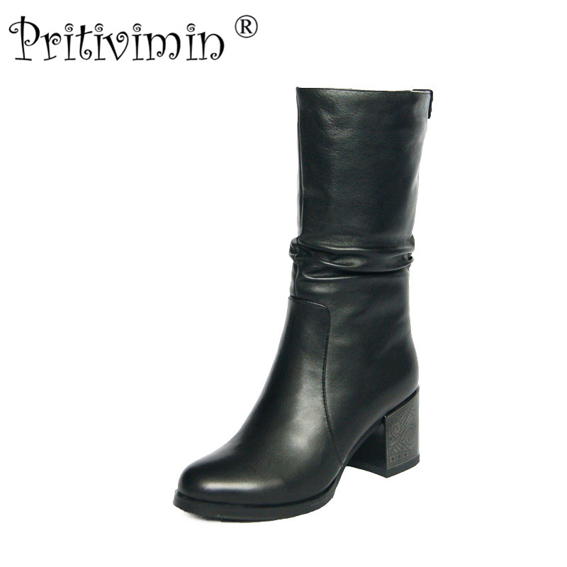 2018 female winter warm real fur lined shoe woman thick high heel short boots ladies genuine leather footwear Pritivimin FN68