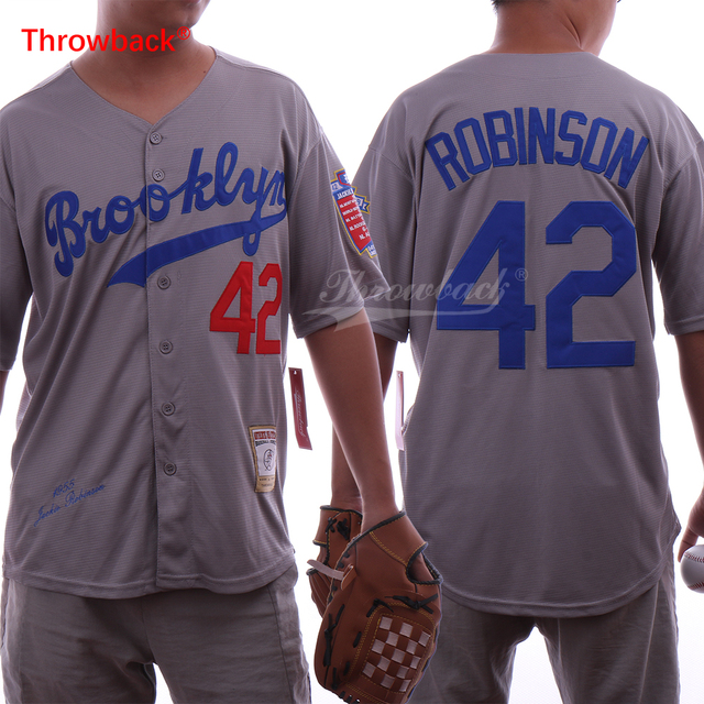 Throwback Men s Jersey Brooklyn Jackie Robinson 42 Baseball Jersey Stitched  Color Grey Size S-XXXL free shpiing 63886866eba