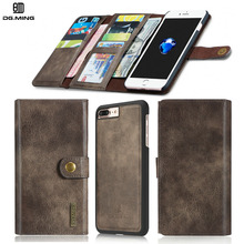 Man 3 Fold Wallet for iPhone 7 7Plus 6 6s Plus 6Plus 2 in 1 Luxury Genuine Leather Case for iPhone7 iPhon6 Detachable Flip Cover