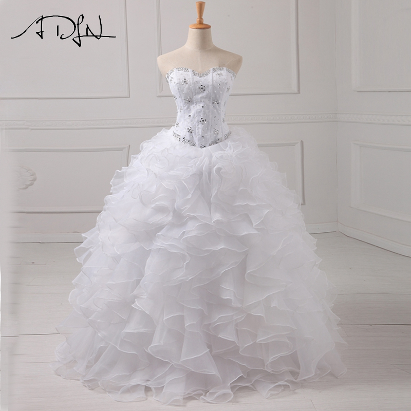ADLN Simple Blanc Quinceanera Robe Faite sur commande D'amoureux Sans Manches En Organza Classique Débutante Robe Robes de 15 Anos