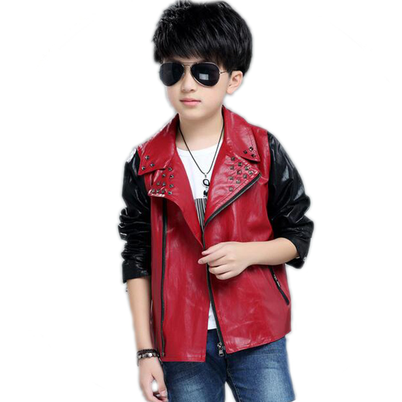 все цены на 2018 Turn Down Collar Boys Leather Jacket Children Clothing Spring PU Faux Leather Boy Coat Rivet Patchwork Teenage Kids Outwear