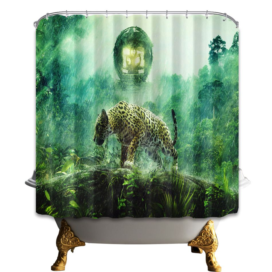 Shower Curtain Home Decor Animal Series Cheetah Dog Panda Bear Deer  Polyester Curtains With 12 High