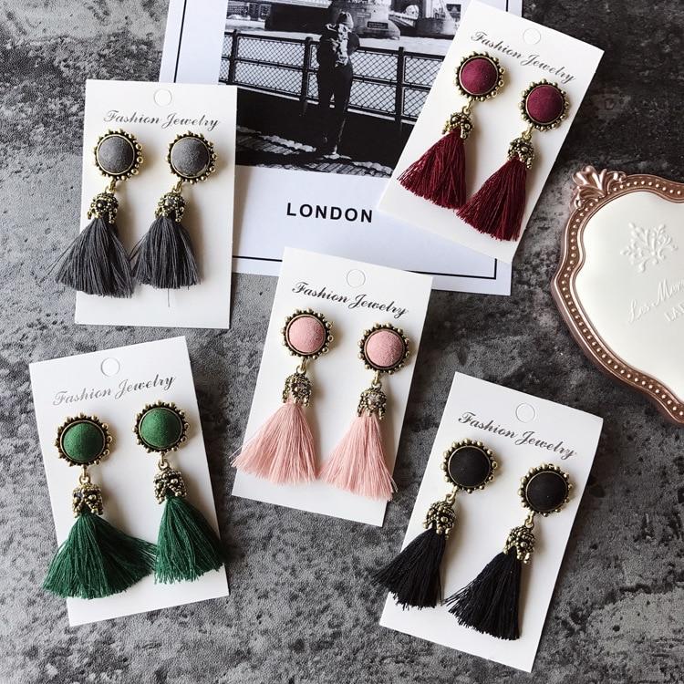 Women Fashion Jewelry Vintage Velvet Ball Statement Fringed Drop Earring Female Jewellery ,Ear Studs gray a 11