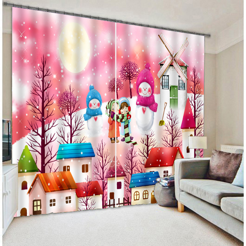 Snowing man Print Kids Bedding room Living room 3D Window Curtains For  Christmas Decorative Drapes Cortinas - Popular 3d Christmas Window Curtains-Buy Cheap 3d Christmas Window