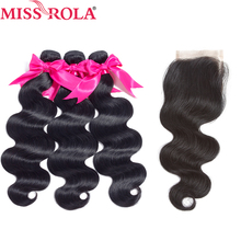 Miss Rola Hair Pre-colored Malysian Hair In Extension Body Wave 100% Human Hair 3 Bundles with Closure #1b Nature Black