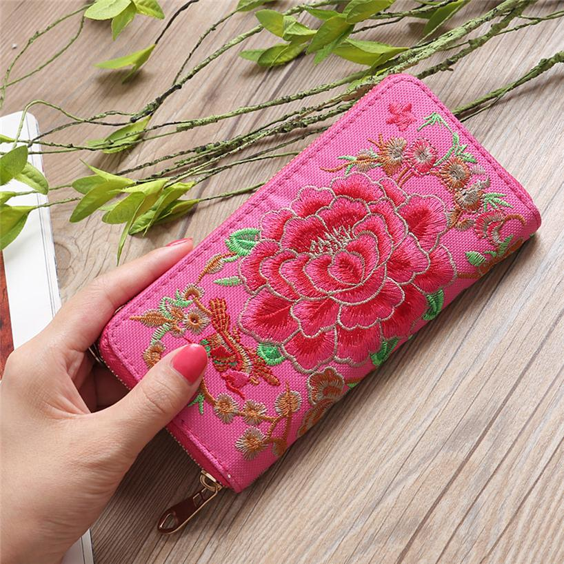 Chinoiserie Flower Embroidered Handmade Coin Purse Wristlet Bag For Women