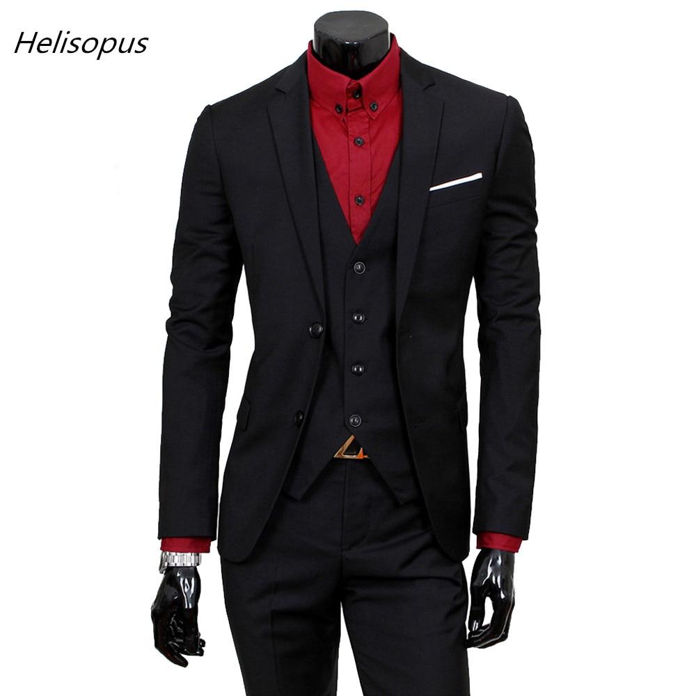 Helisopus Men's Fashion Business Slim Suits Classic Wedding Casual Suit Men 3 Pieces Set (jacket+pant+vest)