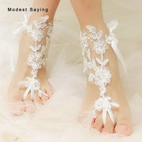 Real Delicate Ivory Lace Bridal Barefoot Sandals 2019 Women Anklet Shoes Leg Chain Beach Ankle Bracelets Wedding Accessories