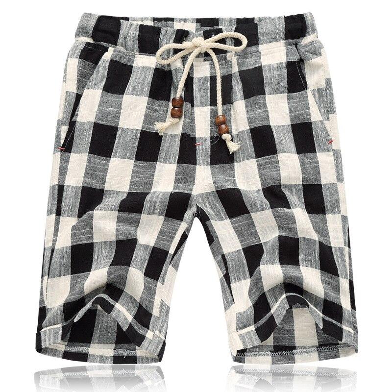 Summer New Cotton Linen Casual   Shorts   Men Grid Hot Mens Bermudas   Shorts   Comfortable Male Beach   Shorts