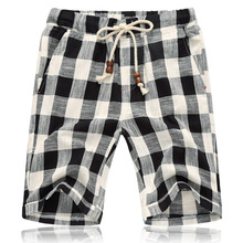 Summer New Cotton Linen Casual Shorts Men Grid Hot