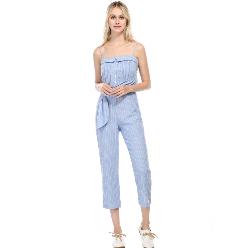 MUXU summer striped jumpsuit sexy europe and the united states jumpsuits rompers backless bodysuit streetwear womens clothing in Jumpsuits from Women 39 s Clothing