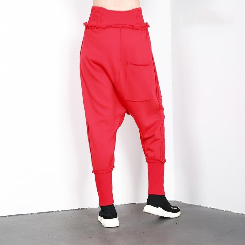 Las Sueltos Mujer red De Harajuku Alta Mujeres Harén Streetwear Joggers Cintura Black Pantalones qxwEYAf0Y