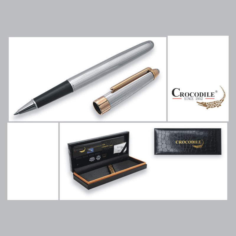 High-grade Stationery Promotion Crocodile 136 Silver and Gold Roller Ball Pen with 0.7mm Black Ink Refill Luxury Ballpoint Pens black jinhao ballpoint pen and pen bag school office stationery brand roller ball pens men women business gift send a refill 013