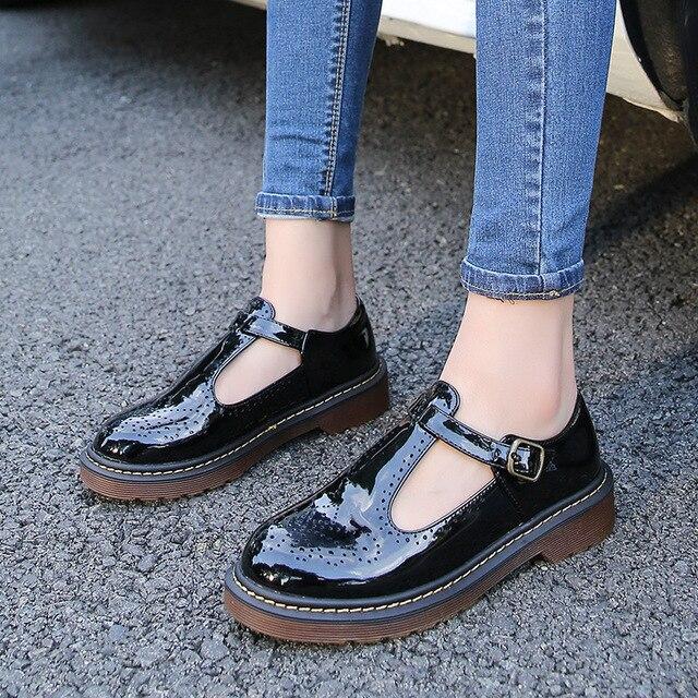747184687 Sapatos brogue couro japanned recorte mulher apartamentos tira no tornozelo  feminino nova primavera oxford trepadeiras mulheres