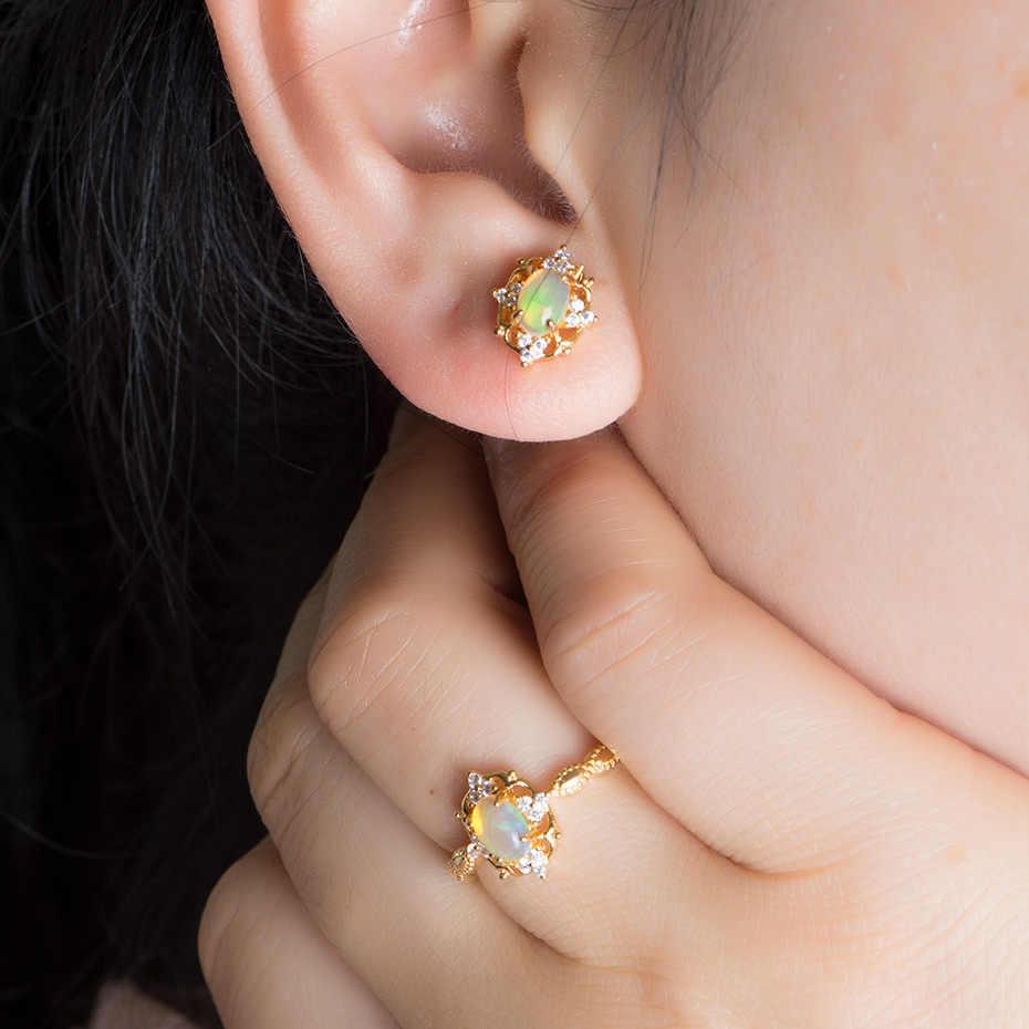 Kuololit 天然オパールオーバルカット宝石用原石のネックレス 925 スターリングシルバー黄色ペンダントウェディングギフトファインジュエリー