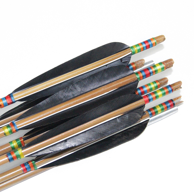 YINOW Bow Archery Shooting Hunting Black Turkey Feather Bamboo Arrows Hunting Arrow