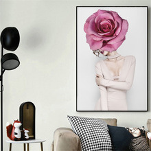 HAOCHU Nordic Canvas Decorative Painting Poster Fashion Modern Character Flower Rose Creative Girls Bedroom Living Room Hotel