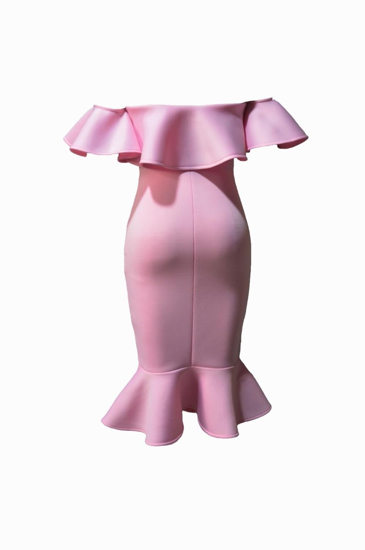 Party Dress Backless Dalla Celebrity Aderente Ruffles Spalline Sexy Rosa Della Largo Estate Spalla Donne Fasciatura Maniche 2017 Al Senza qURvwUT