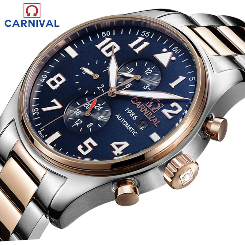 Carnival  Sapphire Automatic Mechanical Watch Men silver Stainless steel waterproof  Watch relogio masculine