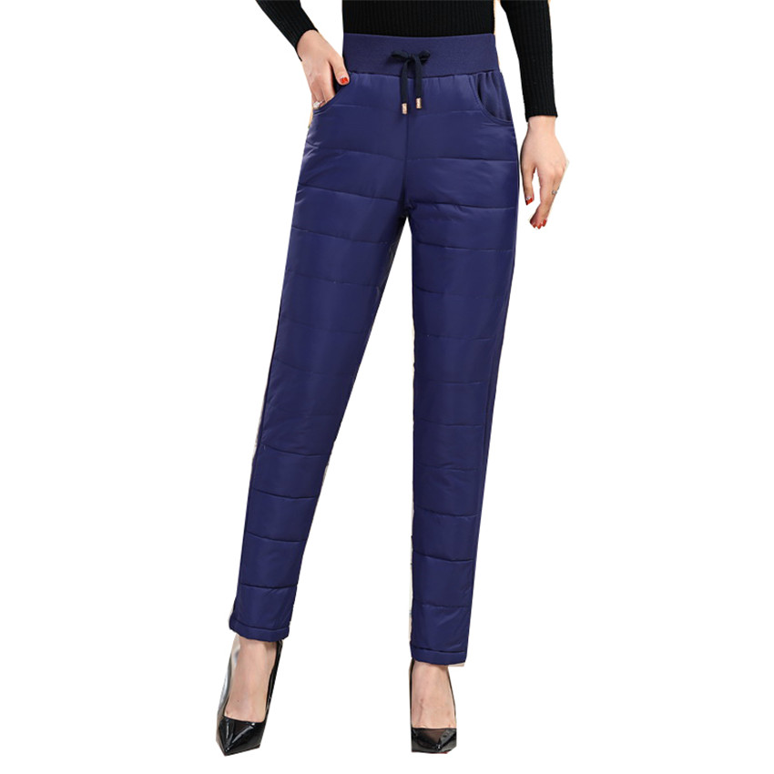 2018 Autumn Winter Slim Women Down Pant Lady High Waist Long Pant Big Size Warm Thicken Pants For Mother Straight Trousers W630