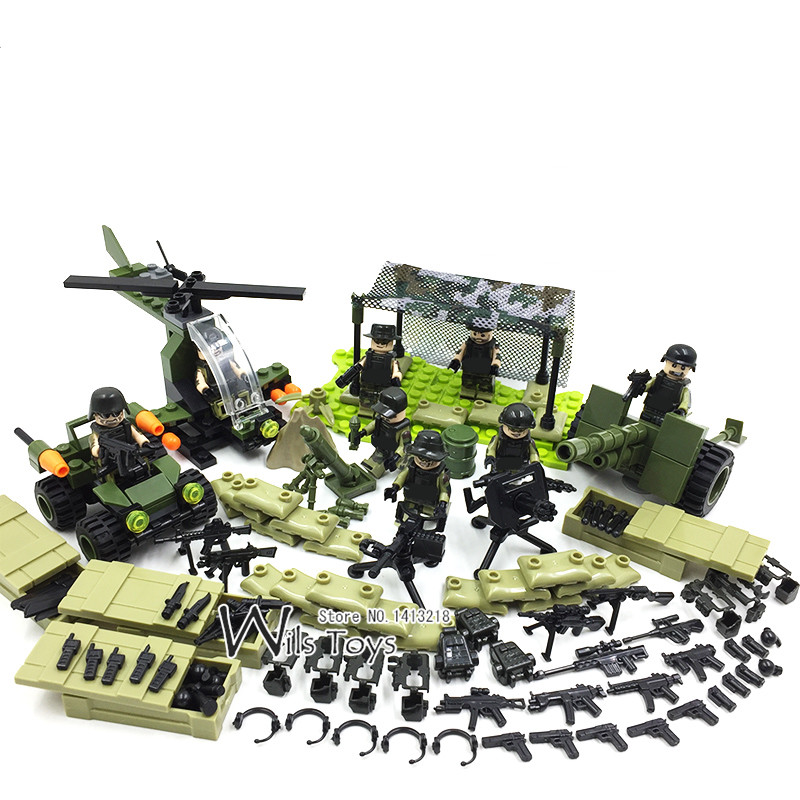 4 in 1 Army World War Military SWAT Soldier Special Force Navy Seals Team Building Blocks Bricks Figures Toys Gift Boys Children world war 1