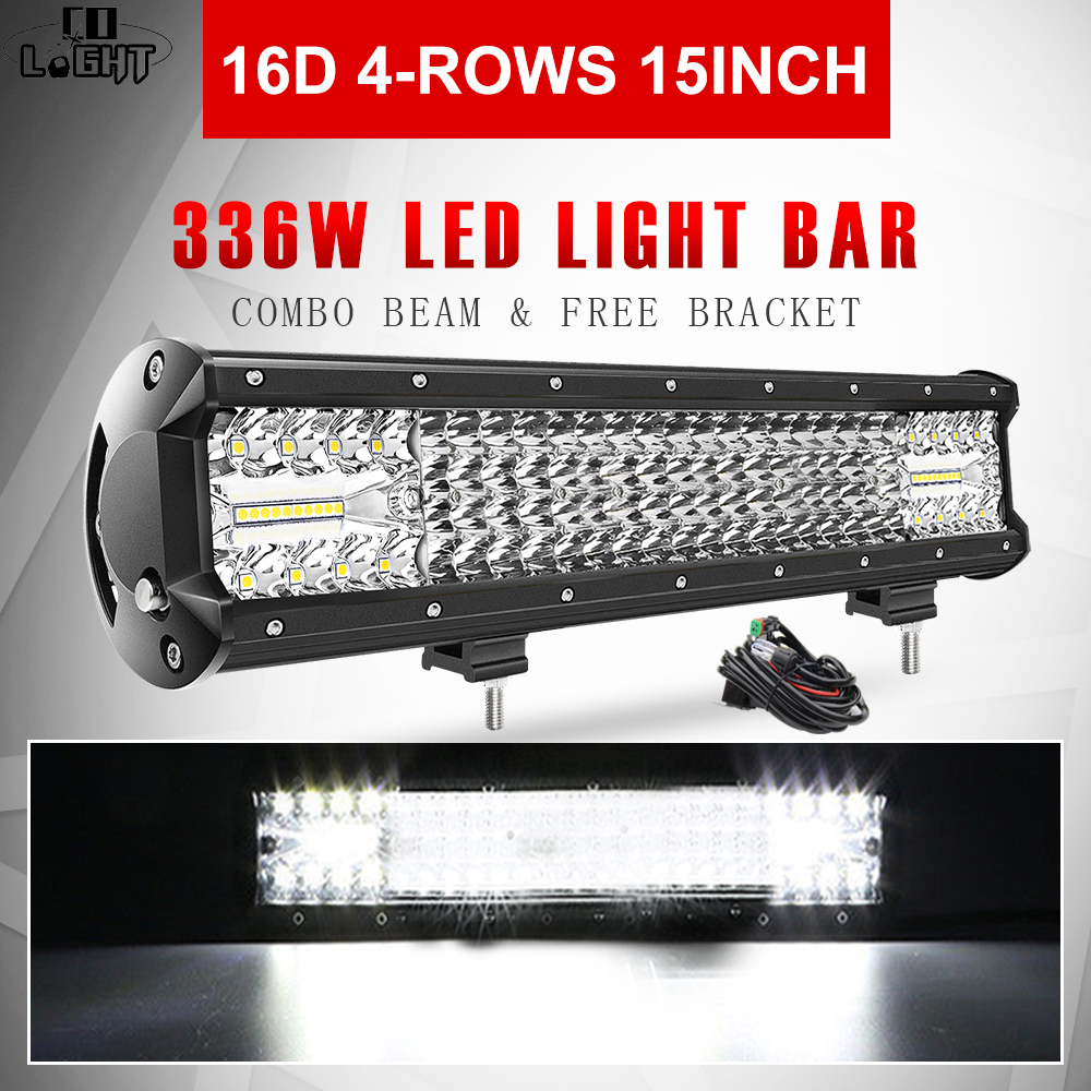 CO LIGHT Супер яркий 16D LED свет бар 4 рядный 264W 336W 480W 696W 1128W для SUV 4X4 ATV внедорожный светодиодный рабочий свет 12V 24V Световая рейка/рабочее освещение      АлиЭкспресс