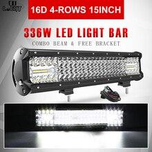 CO lumière Super lumineux 16D lumière LED barre 4 rangées 264W 336W 480W 696W 1128W W pour SUV 4X4 ATV hors route LED conduite travail lumière 12V 24V